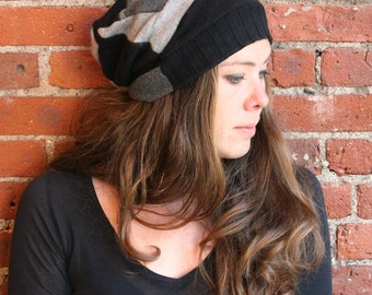 black gray  cashmere beanie- slouchy hat- unisex hat- skull cap- autumn hat- cashmere hat- recycled sweater- eco friendly- repurposed