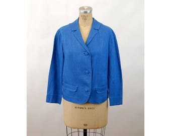 1950s 60s linen jacket blazer blue lightweight custom made Size M/L