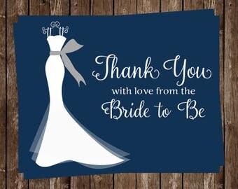Bridal Shower Thank You Cards, Wedding Dress, Navy, Blue, Gray, Set of 24 Notes & Envelopes, FREE Shipping, ELGNY, Elegant Gown Navy