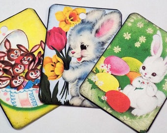 Easter Fun Tags - Variety Set 9 - Retro Easter Bunny - Pastel Bunny Tags - Easter Basket Tags - Vintage Easter - Gift Tags - Favor Tags