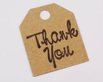 Thank You Tags - Set of 25 - Small Thank Yous - Kraft Tags - Hand Stamped - Black Script - Kraft Paper - Tiny Tags -