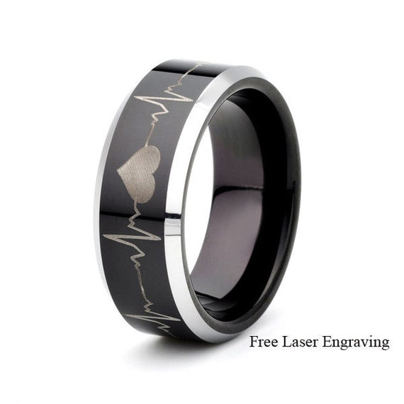 black tungsten wedding band lasers engraved heartbeat all around the ring 8mm silver plated beveled edge - All Black Wedding Rings