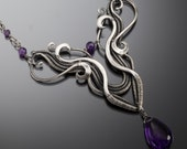 Amethyst Necklace, Fine Silver Jewelry- Aries