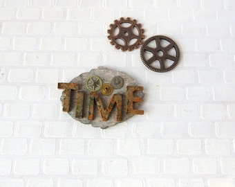 Steampunk time plate with gears in 1:12 scale