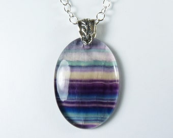 Fluorite Necklace, LARGE Translucent Fluorite Pendant Necklace, Purple, Violet, Teal, & Green Stripes, LONG Luxurious Sterling Silver Chain