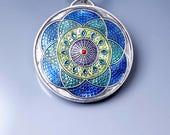 Ivy Woodrose sterling silver, PMC, and resin enamel mandala pendant