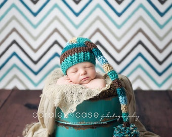 Elf Hat in Teal, Chocolate, and Beige
