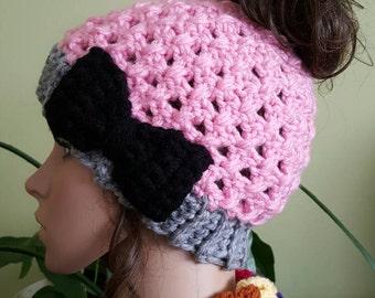 Women Crochet Ponytail Hat - Bun Hat - Messy Bun Beanie