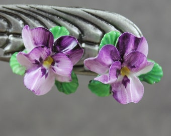 Vintage English China Violet Pansy Flower Clip On Earrings