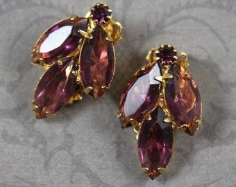 Vintage Triple Amethyst Rhinestone Marquis Cut Gold Tone Clip On Earrings
