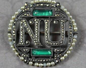 Vintage Marcasite Faux Pearl NU Round Silver Brooch