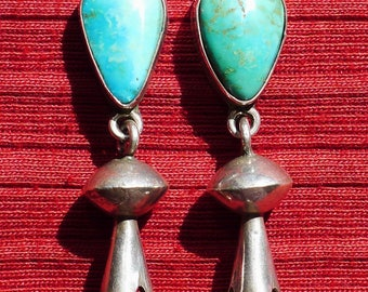 Navajo Sterling Silver Turquoise Squash Blossom Dangle Earrings