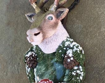 Reindeer Amanita Mushroom Totem - Polymer Clay Spirit Animal Jewelry