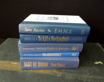 Blue Book Stack Vintage - Books for Decor - Instant Library Collection - Old Book Stack
