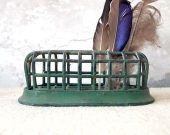 Vintage Chippy Green Metal Flower Frog - Flower arranging metal cage