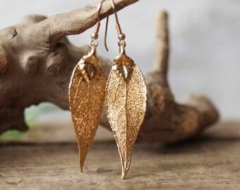Vintage Gold Dipped LEAF Earrings - Natural Leaf dipped in gold Pierced Earrings