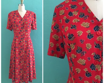 90's red floral midi dress ~ small  medium