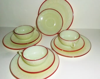 McKee Laurel French Ivory Trio Set with Red Trim  - Child's Toy Dishes - 11 Pieces