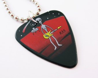 Guitar Pick Necklace Alien Playing Guitar