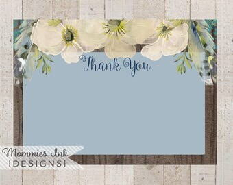 Spring Thank You Note,Wood Grain Floral Thank You,Boho Chic Feathers Thank You, Watercolor Poppy Flat Thank You Note, Boho Thank You Note