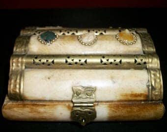 Small Trinket Box with Stone Inlay and Brass Details