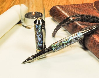Stunning Rollerball Pen, Handmade Rollerball Pen Fit for a King or Queen, Paua Abalone, Handcrafted By ASH Woodshops, A Beautiful gift