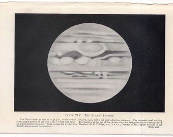 C. 1909 PLANET JUPITER LITHOGRAPH - original antique print - celestial astronomy - showing the great red spot