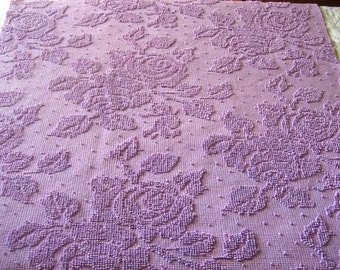 "Large Cut of Orchid Roses and Pearls Hobnail Vintage Chenille Bedspread Fabric 23"" x 27""  #2"
