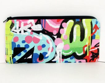 Zippered Pencil Pouch, Urban Graffiti Art in Brights, Money Holder Bag
