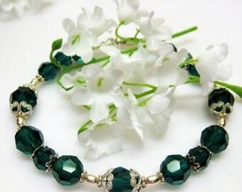 40% off Emerald Green Birthstone Bracelet - Swarovski Crystal Birthstone Bracelet - Birthstone Jewelry - Green Crystal Bracelet - Birthday G