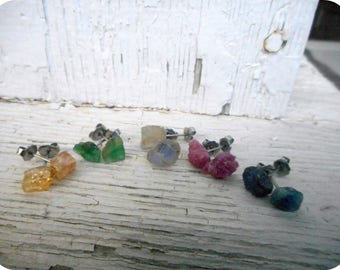 Wholesale Lot of Rough Raw Gemstone Earrings. Peacock Mix Pink Ruby, Labradorite, Green Emerald, Topaz & Blue Sapphire Titanium posts 5 Pair