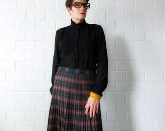 pleated plaid wool vintage skirt - 1211223