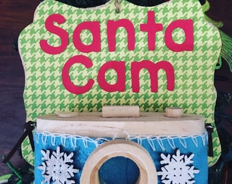 Santa Cam Ornaments - he is always watching! Handmade, wood, decorated Ornaments