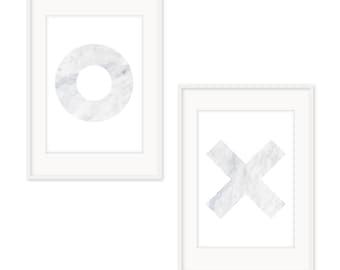 Set of Two XO Marble Prints