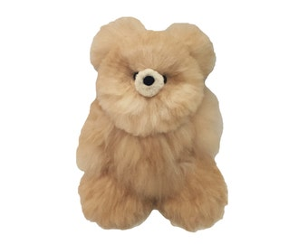 Alpaca Real Fur Teddy Bear - Beige / Light Brown