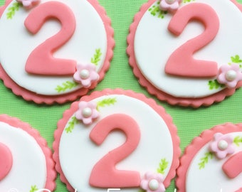 12 Floral birthday number fondant cupcake toppers