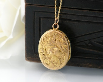 Antique Locket | Solid 9ct Gold Victorian Locket | Small Ornate Oval Solid Gold Wedding Locket Necklace - 18 Inch 9 Carat Gold Vintage Chain