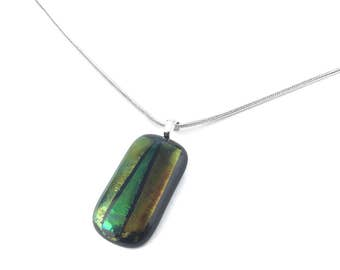 Pendant Necklace, Green Iridescent Glass Jewelry