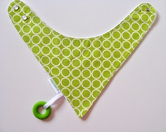Baby Bandana Bib With an Attached Food Safe  Silicone Teether, Circles,  Reversible  Minky Lined