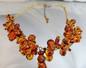 CHRISTMAS SALE Vintage Amber Necklace. Amber Lucite Beads. Dangles.