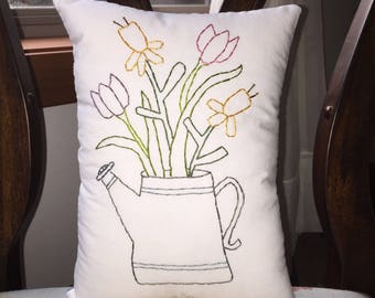 Primitive Farmhouse Flowers Watering Can Embroidery Stitchery Pillow