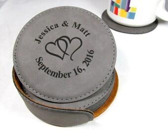 Personalized Leather Coaster Set, Customized Coasters, Engraved Coasters, Engraved Coaster Gift, Personalized Wedding Anniversary Gift