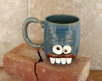 Ceramic Clay Pottery Face Mug Stoneware Coffee Cup. Beer Mug. Funny Nervous Face Mug. Large 16 Ounce Pottery Handmade Mugs.