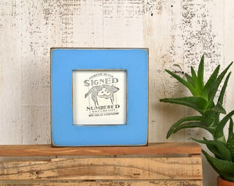 4x4 Square Picture Frame in 1.5 inch Standard Style with Super Vintage Blue Finish - IN STOCK - Same Day Shipping - Frame Blue 4 x 4""
