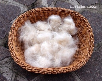 pale beige Alpaca fiber 1 oz on hand dyed color for spinning and felt