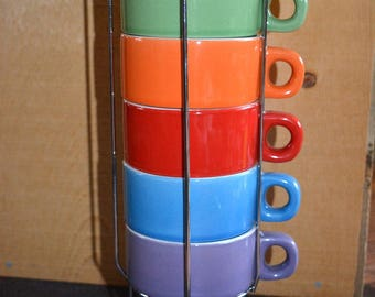 Vintage Stacking Coffee Cups with metal stand retro nesting set