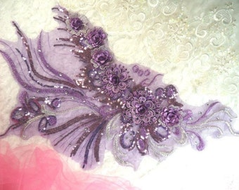 """Embroidered 3D Applique Purple Floral Ballet Sequin Patch Rhinestone Accented 20"""" (DH71-pur)"""