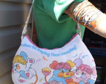 Popples  Round  Shoulder Bag --   Meduim Sized  80s American Greeting    PJ- Party- Puffball- Pancake Vintage 1986