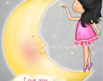 Wall art print for girl bedroom,Poster for children's bedroom,Love you to the moon and back,custom hair skin color artwork,baby girl nursery