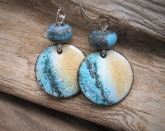 Blue Ocean Enamel Earrings Lampwork Bead Copper Jewelry